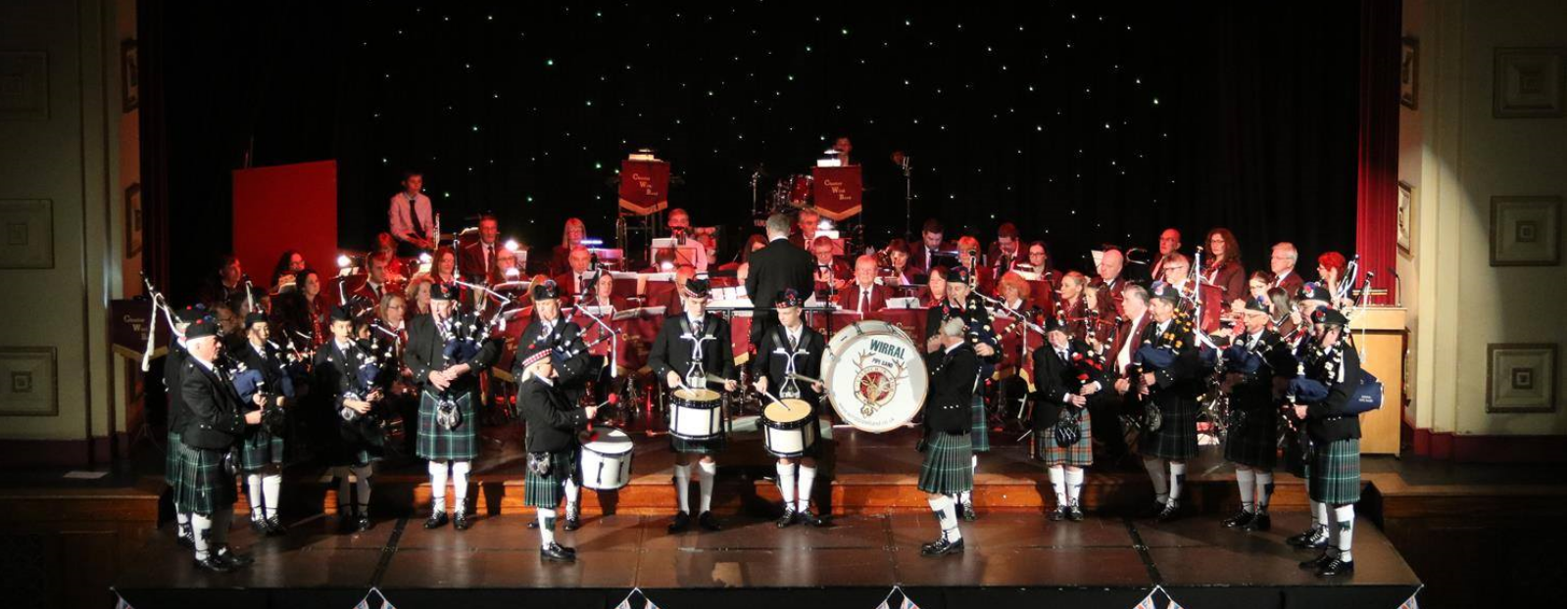 CWB and Wirral Pipe Band on Stage